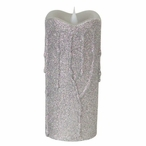 """3"""" x 7"""" Simplux LED Silver Glitter Candles with Moving Flame, Set of 2"""