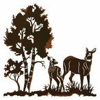 """30"""" Doe and Fawn Deer in the Wild Metal Wall Art"""