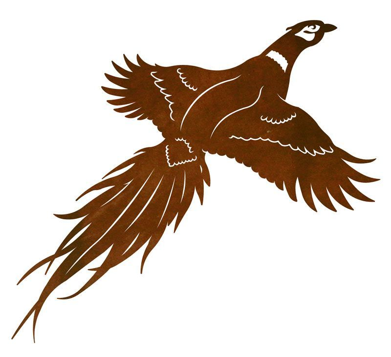 Flying Pheasant Outdoor Metal Wall Art