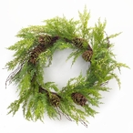 """32"""" Cypress and Pine Cone Silk Wreath"""