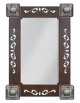 """33"""" Tooled Leather Metal Wall Mirror with Conchos"""