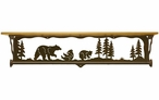 "34"" Bear Family Scene Metal Towel Bar with Alder Wood Top Wall Shelf"
