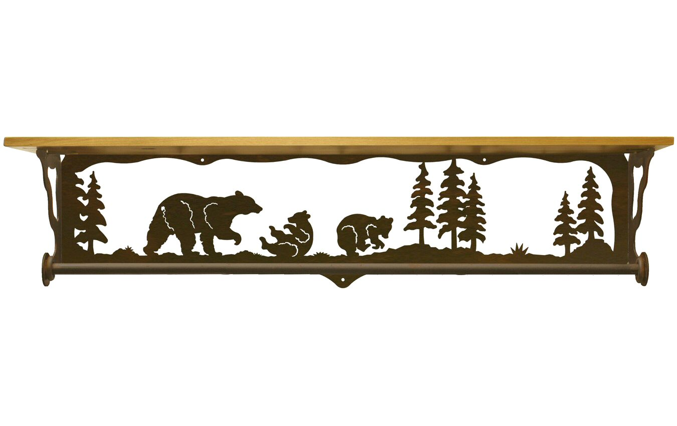 34 bear family scene metal towel bar with alder wood top. Black Bedroom Furniture Sets. Home Design Ideas