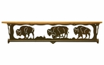 "34"" Buffalo Family Scene Metal Towel Bar w/ Alder Wood Top Wall Shelf"