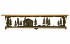 """34"""" Cabin in the Pines Metal Towel Bar with Pine Wood Top Wall Shelf"""