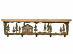 """34"""" Cabin in the Pines Metal Wall Shelf and Hooks with Pine Wood Top"""