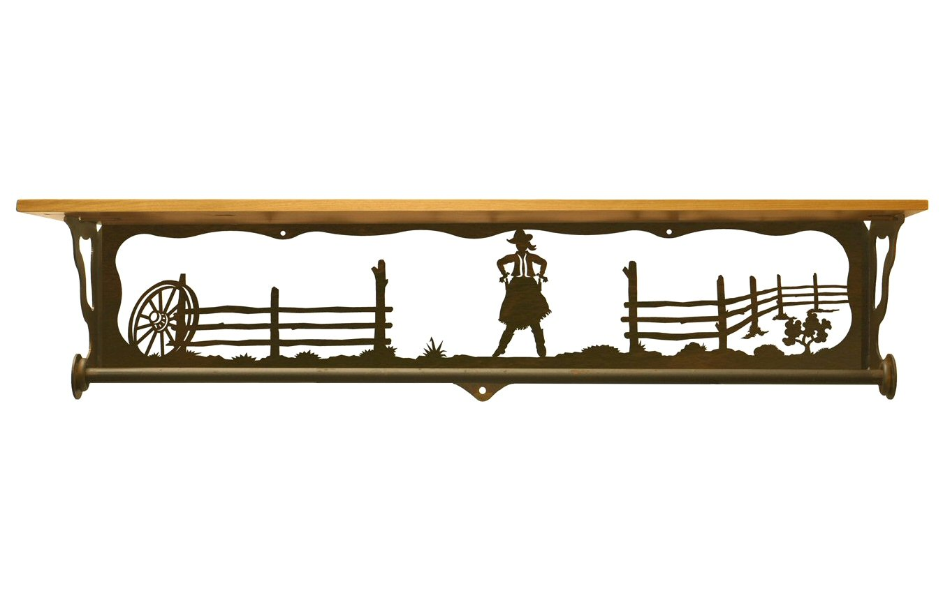34 cowgirl scene metal towel bar with pine wood top wall. Black Bedroom Furniture Sets. Home Design Ideas