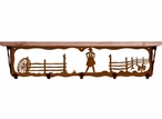 """34"""" Cowgirl Scene Metal Wall Shelf and Hooks with Alder Wood Top"""