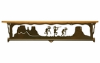 "34"" Dancing Kokopellis Metal Towel Bar with Pine Wood Top Wall Shelf"
