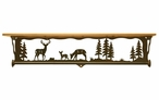 "34"" Deer Family Scene Metal Towel Bar with Pine Wood Top Wall Shelf"