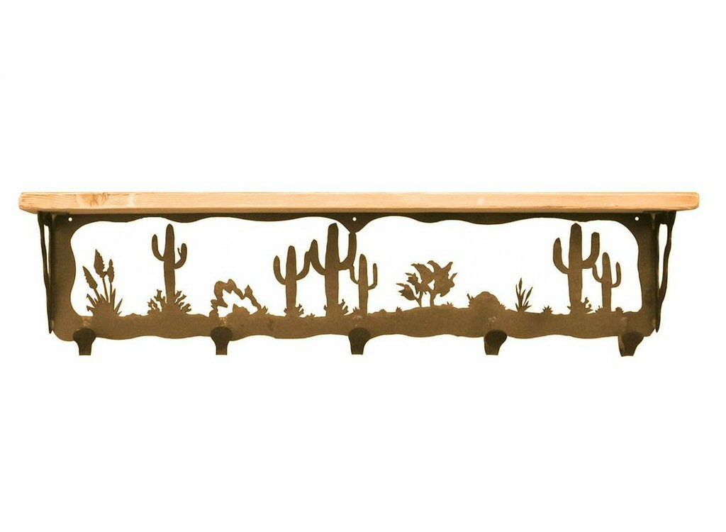 34 desert scene metal wall shelf and hooks with alder wood top rustic shelving - Wall metal shelf ...