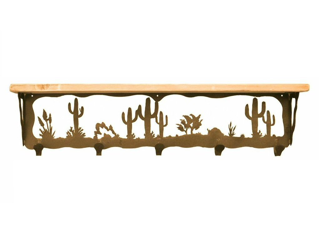 34 desert scene metal wall shelf and hooks with pine wood top rustic shelving - Wall metal shelf ...