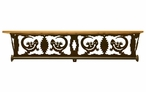 "34"" Gecko Lizard Scene Metal Towel Bar with Pine Wood Top Wall Shelf"