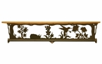 "34"" Hummingbird Scene Metal Towel Bar with Alder Wood Top Wall Shelf"