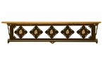 "34"" Picture Jasper Stone Metal Towel Bar w/ Alder Wood Top Wall Shelf"