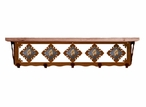 """34"""" Picture Jasper Stone Metal Wall Shelf and Hooks with Pine Wood Top"""