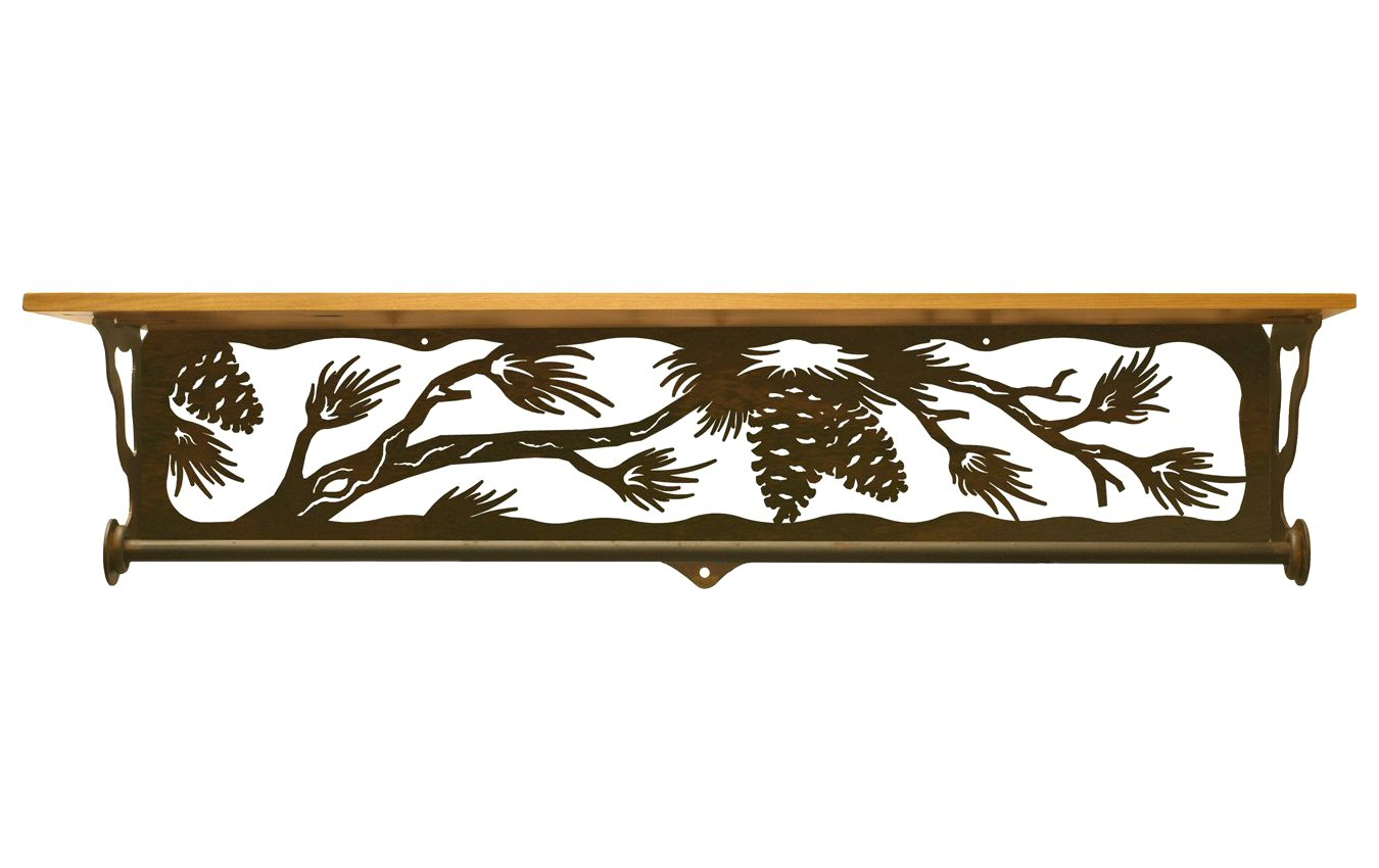 34 pine cone branch metal towel bar with pine wood top. Black Bedroom Furniture Sets. Home Design Ideas