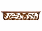 """34"""" Pine Cone Metal Wall Shelf and Hooks with Pine Wood Top"""