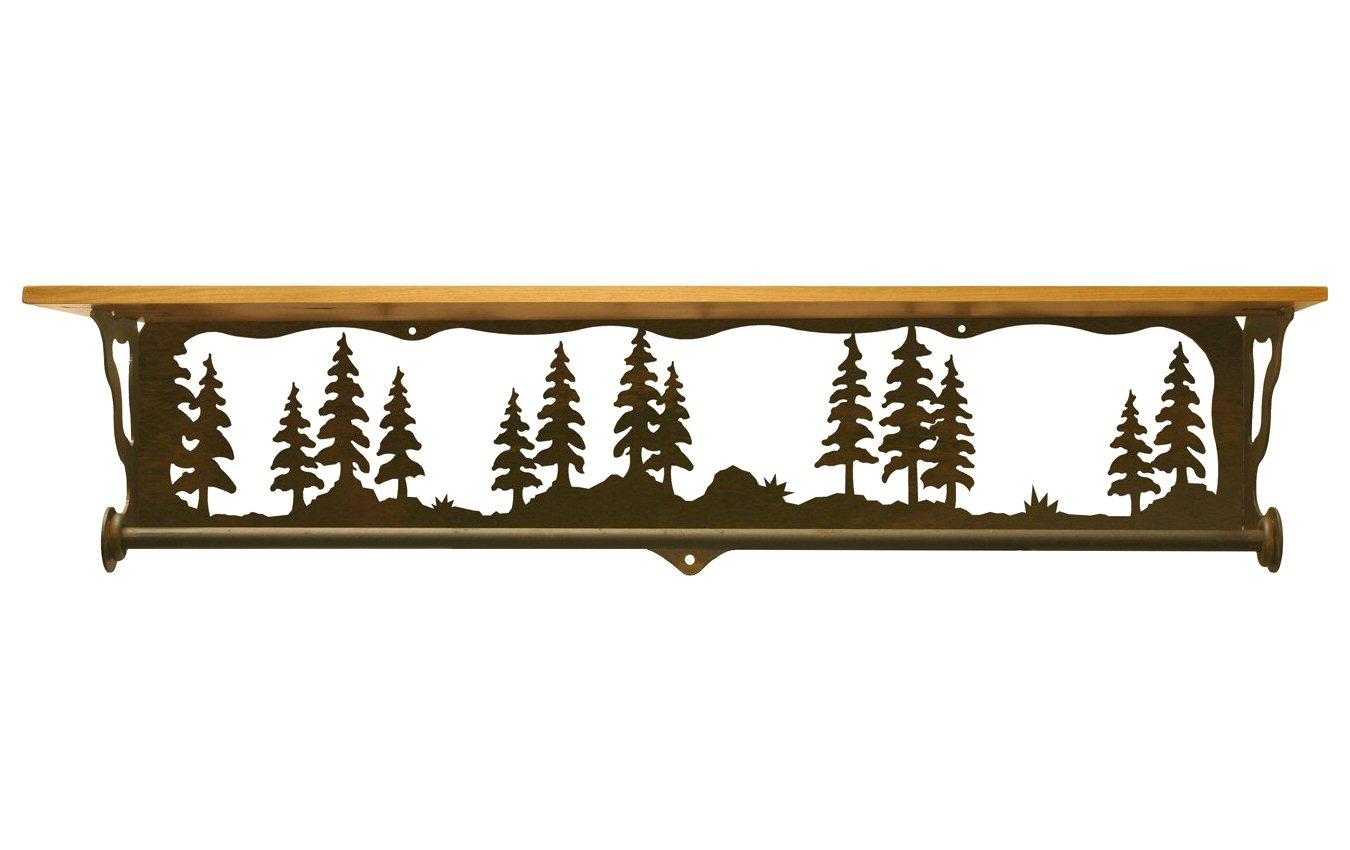 34 Pine Tree Forest Metal Towel Bar With Pine Wood Top