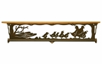 "34"" Quail Family Scene Metal Towel Bar with Pine Wood Top Wall Shelf"