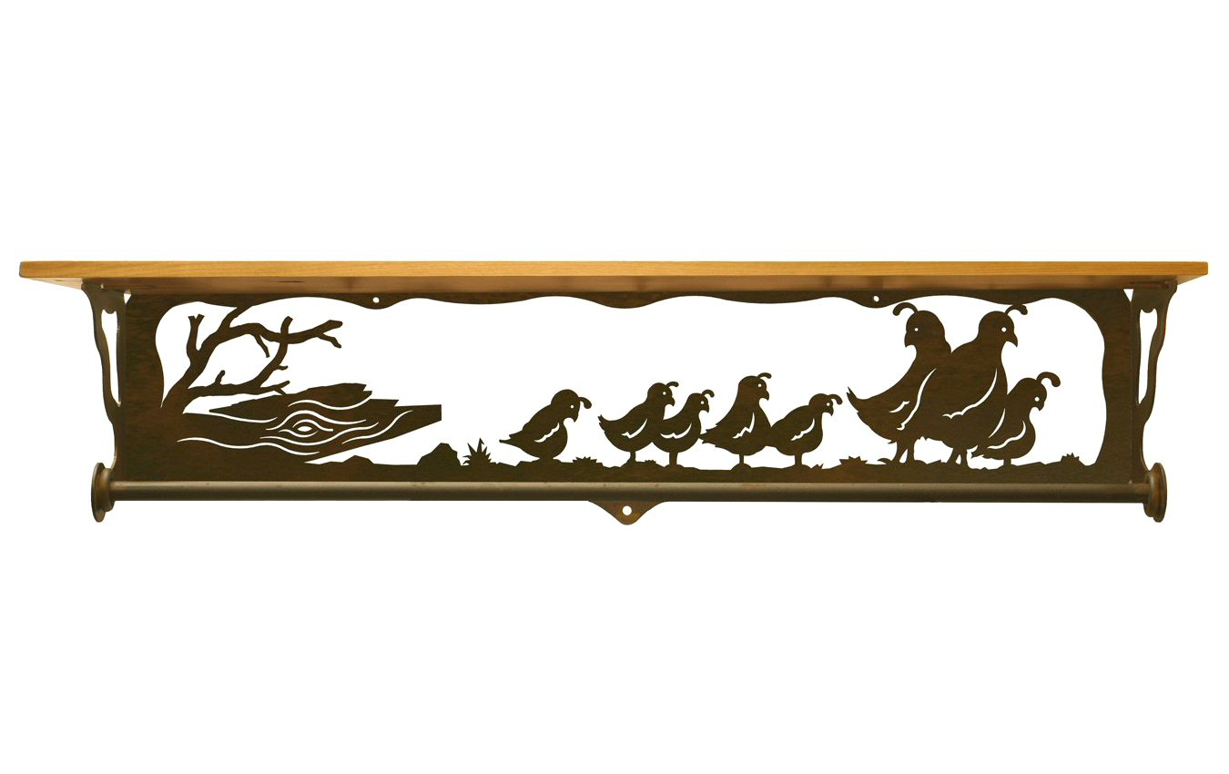 34 quail family scene metal towel bar with pine wood top. Black Bedroom Furniture Sets. Home Design Ideas