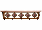 """34"""" Red Jasper Stone Metal Wall Shelf and Hooks with Alder Wood Top"""