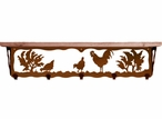 """34"""" Rooster Bird Metal Wall Shelf and Hooks with Pine Wood Top"""