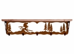 """34"""" Skier Metal Wall Shelf and Hooks with Alder Wood Top"""