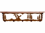 """34"""" Snowboarder Metal Wall Shelf and Hooks with Pine Wood Top"""