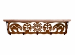 """34"""" Southwest Metal Wall Shelf and Hooks with Alder Wood Top"""