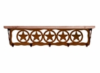 """34"""" Texas Star Metal Wall Shelf and Hooks with Alder Wood Top"""