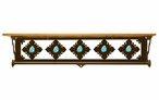 "34"" Turquoise Stone Metal Towel Bar with Alder Wood Top Wall Shelf"