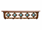 """34"""" Turquoise Stone Metal Wall Shelf and Hooks with Pine Wood Top"""
