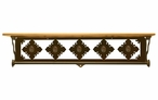 "34"" Unakite Stone Metal Towel Bar with Pine Wood Top Wall Shelf"