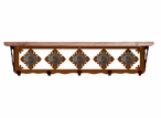 """34"""" Unakite Stone Metal Wall Shelf and Hooks with Alder Wood Top"""
