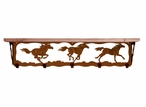 """34"""" Wild Horses Metal Wall Shelf and Hooks with Alder Wood Top"""