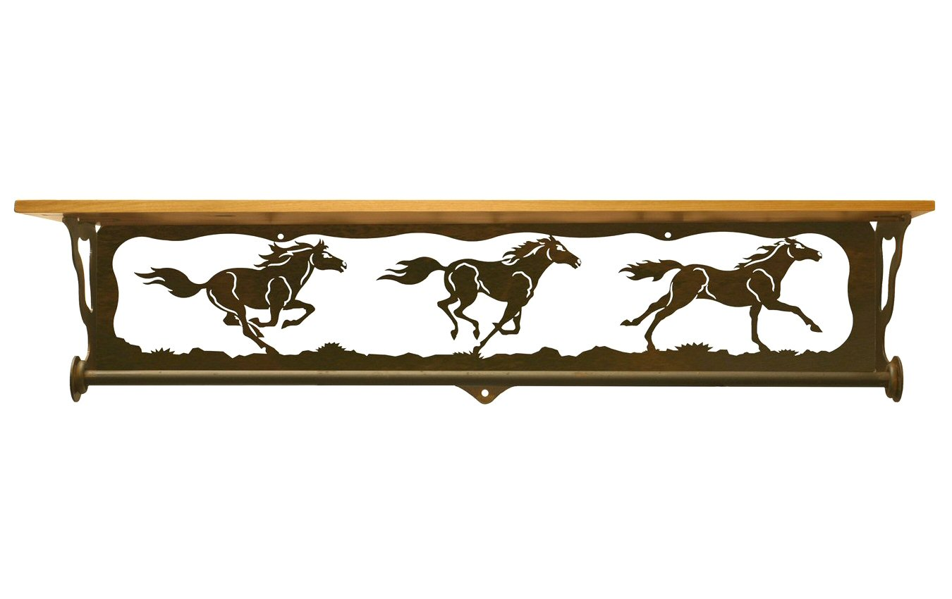 34 wild horses scene metal towel bar with pine wood top. Black Bedroom Furniture Sets. Home Design Ideas