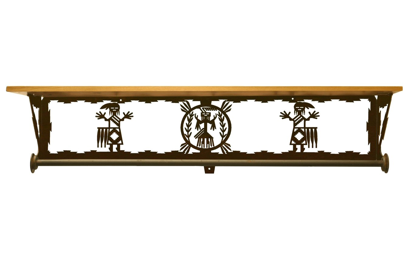 34 yei southwest scene metal towel bar with pine wood top for Southwestern towel bars