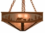 "36"" Bear Family in the Forest Metal Chandelier"