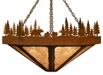 "36"" Bear Family in the Forest Round Metal Chandelier"