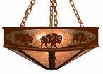 "36"" Buffalo Family on the Range Metal Chandelier"