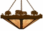 "36"" Buffalo Family on the Range Round Metal Chandelier"