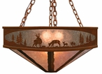 "36"" Deer Family in the Forest Metal Chandelier"