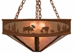 "36"" Moose Family in the Forest Metal Chandelier"