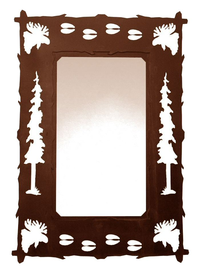 Decorative Wall Mirror With Tree Design : Quot moose pine trees and tracks metal wall mirror