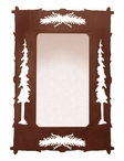 """36"""" Pine Cones and Pine Trees Metal Wall Mirror"""