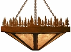 "36"" Pine Tree Forest Round Metal Chandelier"