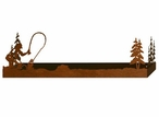 """38"""" Fly Fisherman and Pine Trees Metal Wall Shelf with Ledge"""