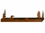 """38"""" Swimming Loon and Pine Trees Metal Wall Shelf with Ledge"""