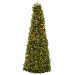 "39"" Boxwood Cone Silk Tree with Lights"